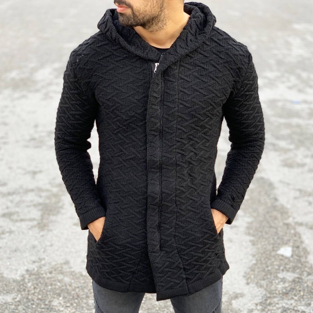 Ring Pattern Hooded Cardigan in Black