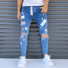 Men's Street Jeans With Rips And Patchworks Blue Mv Premium Brand - 1