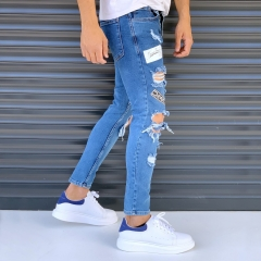 Men's Street Jeans With Rips And Patchworks Blue Mv Premium Brand - 2