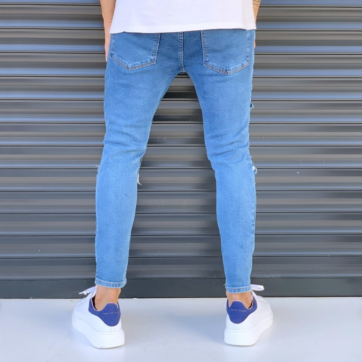Men's Street Jeans With Rips And Patchworks Blue Mv Premium Brand - 3