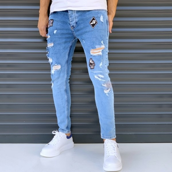 Men's Slim Jeans With Rips...