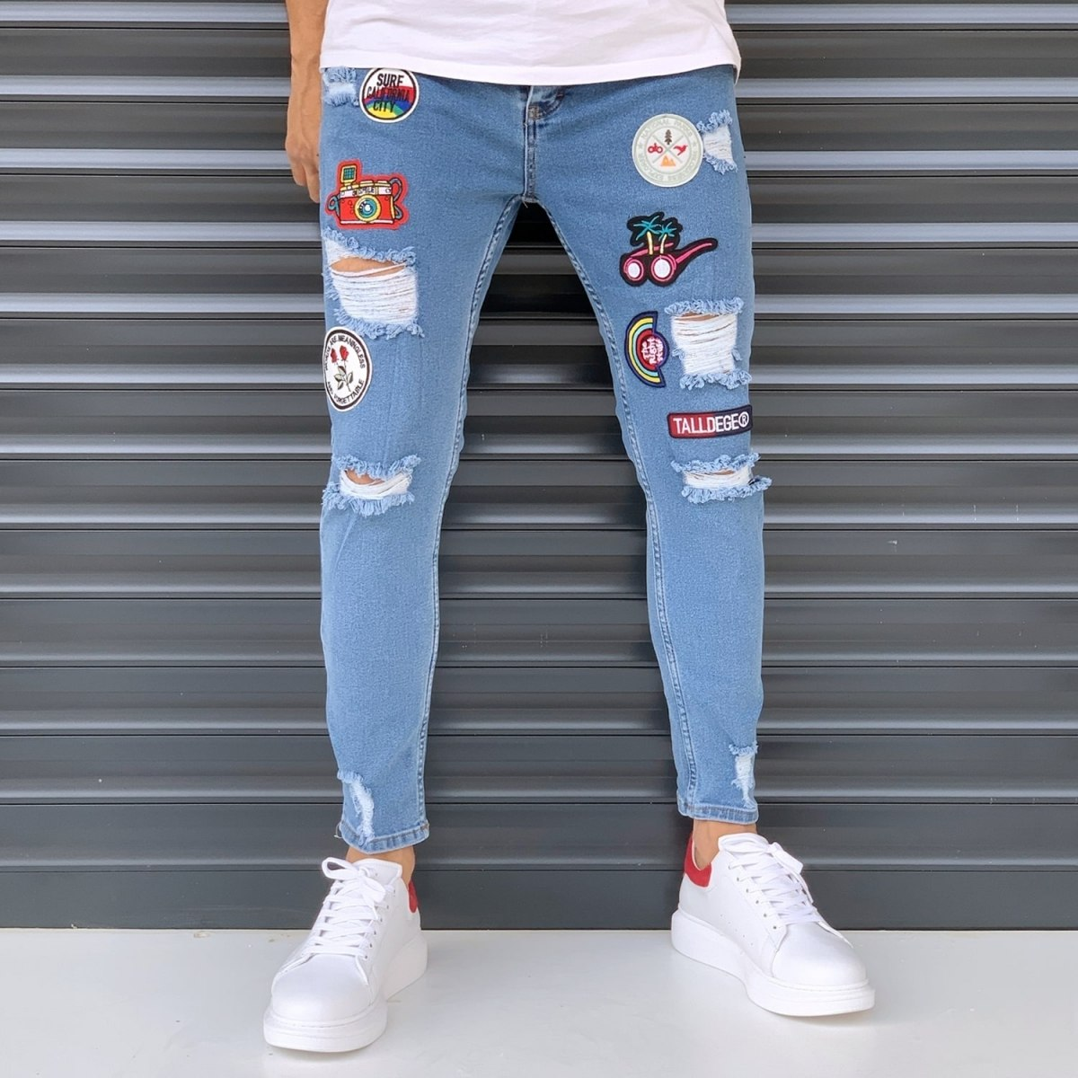 Men's Jeans With Heavy Rips And Patchworks Denim Blue Mv Premium Brand - 1