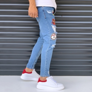 Men's Jeans With Heavy Rips And Patchworks Denim Blue Mv Premium Brand - 2