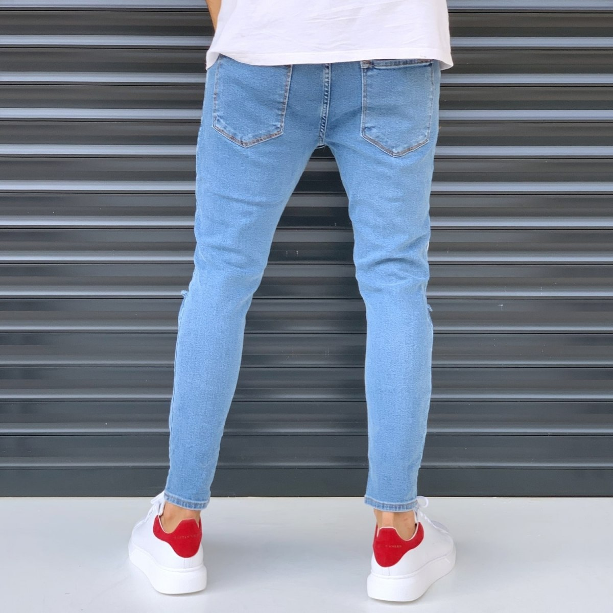 Men's Jeans With Heavy Rips And Patchworks Denim Blue Mv Premium Brand - 3