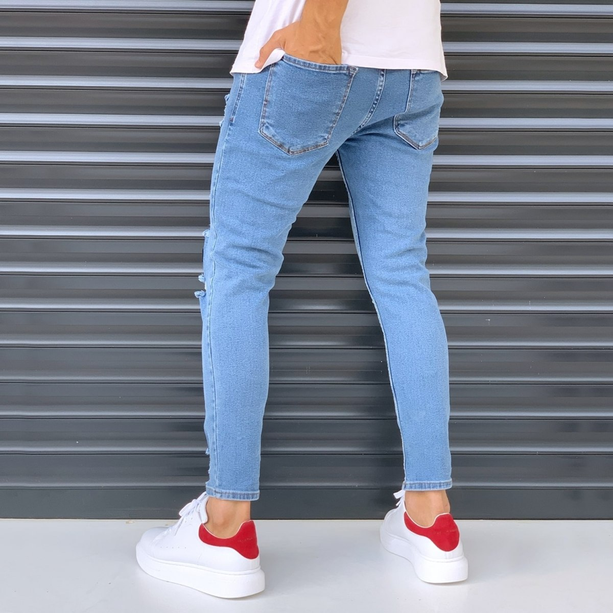 Men's Jeans With Heavy Rips And Patchworks Denim Blue Mv Premium Brand - 4