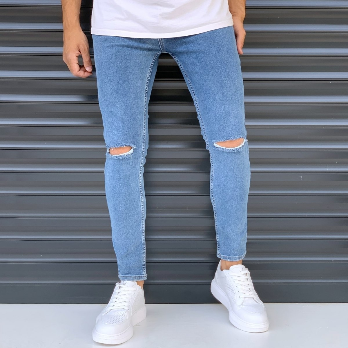 Men's Basic Jeans With Knee Rips Denim Blue Mv Premium Brand - 1