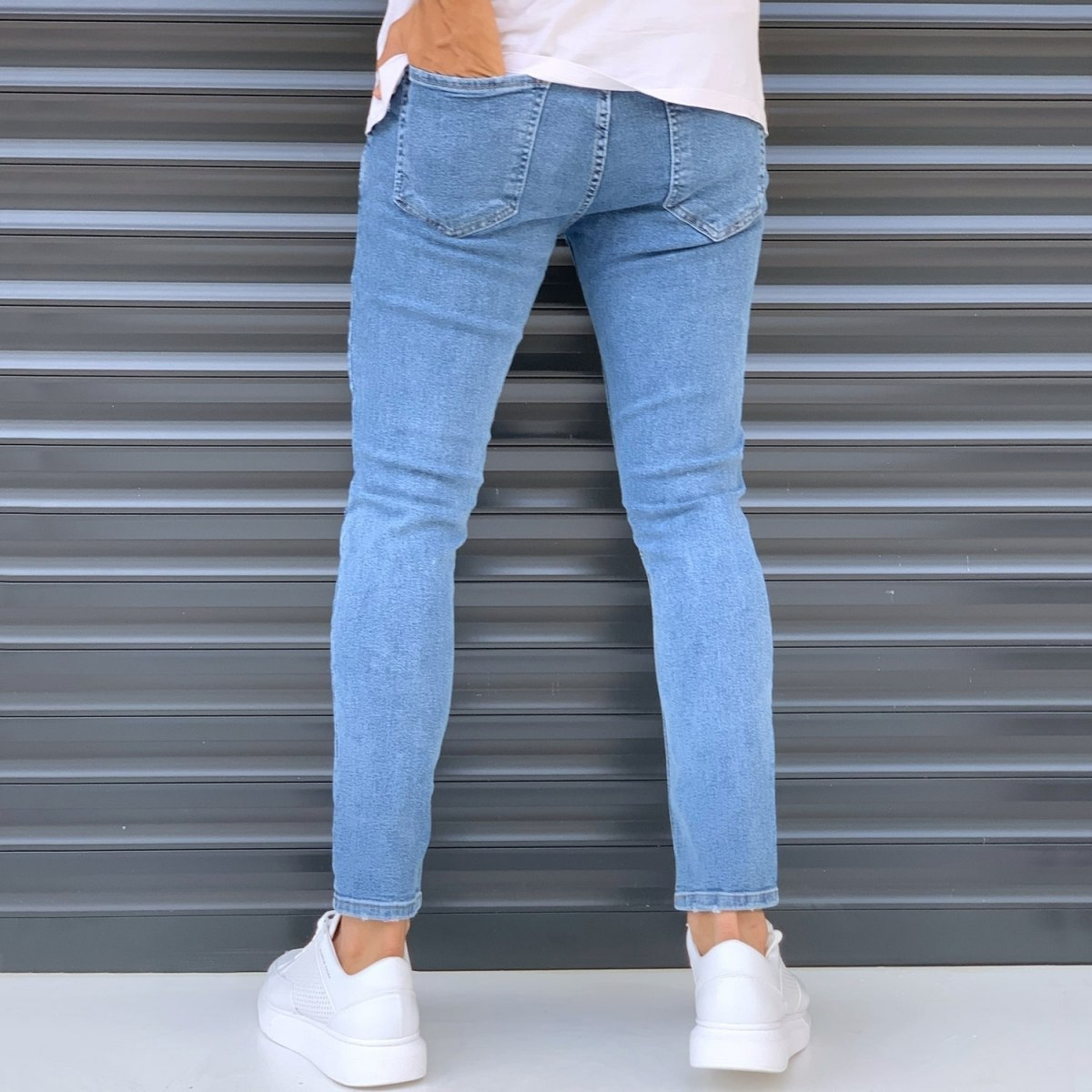 Men's Basic Jeans With Knee Rips Denim Blue Mv Premium Brand - 2