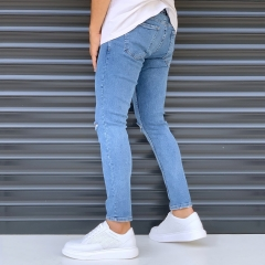Men's Basic Jeans With Knee Rips Denim Blue Mv Premium Brand - 4