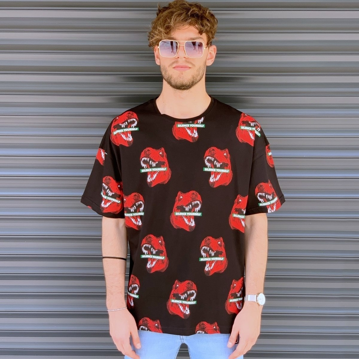 Men's Jurrasic Dinosaur Pattern T-Shirt Brown Mv Premium Brand - 1
