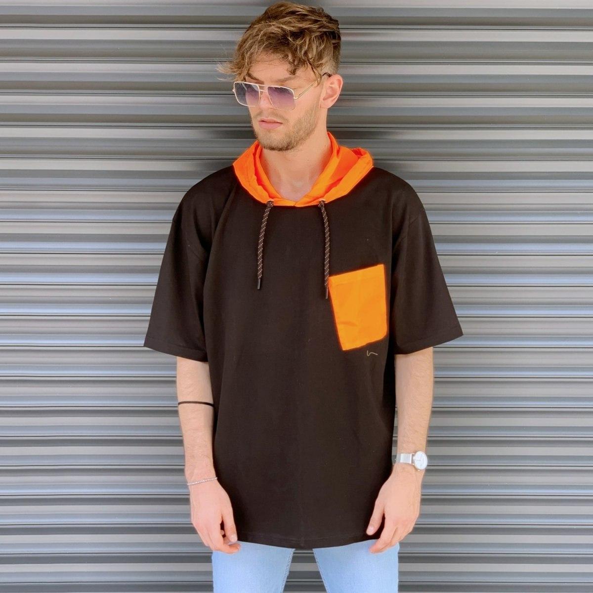 Men's Oversized T-Shirt With Orange Hood In Brown Mv Premium Brand - 1
