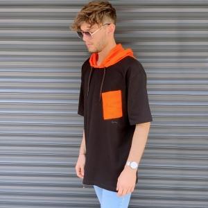 Men's Oversized T-Shirt With Orange Hood In Brown Mv Premium Brand - 2