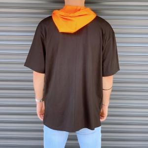 Men's Oversized T-Shirt With Orange Hood In Brown Mv Premium Brand - 3