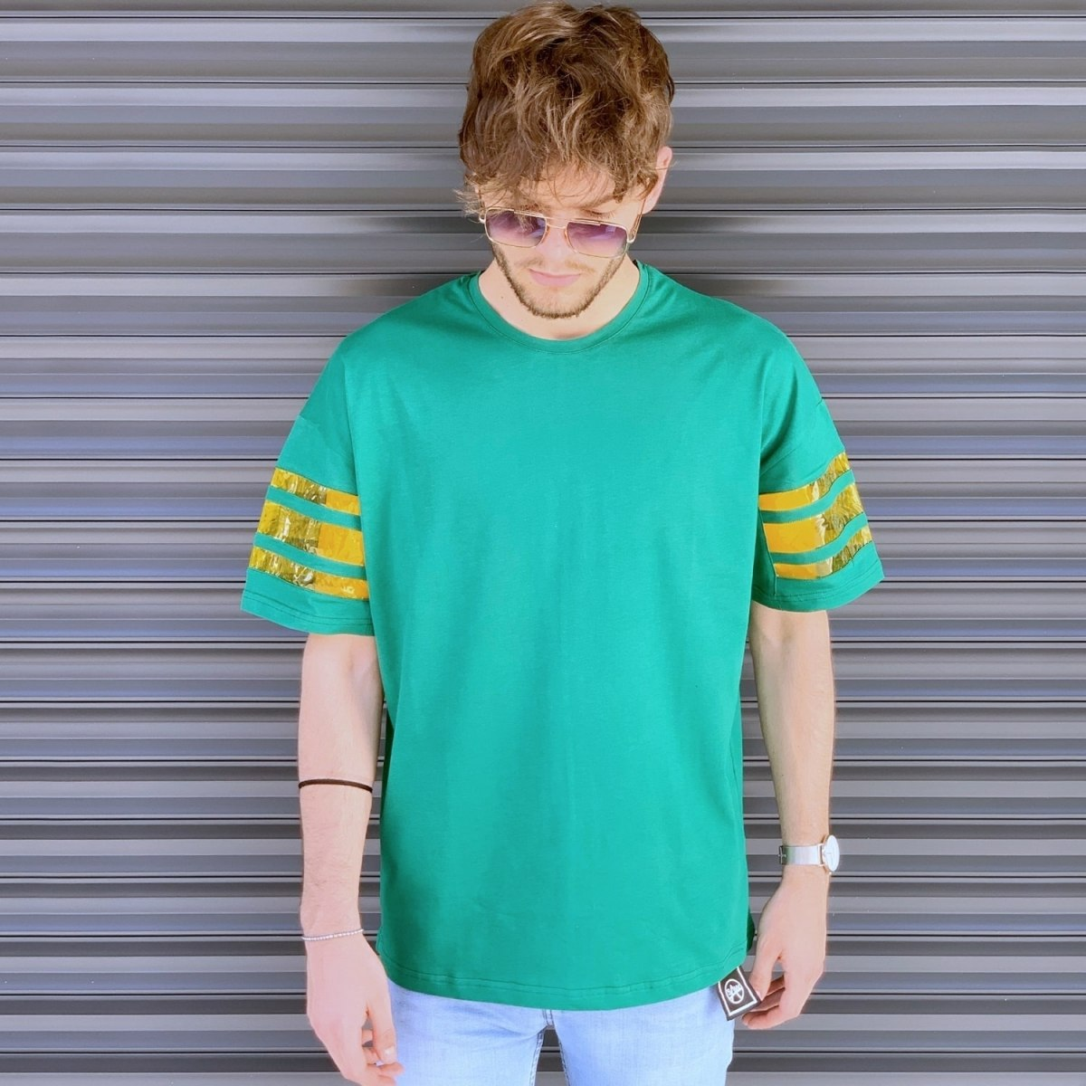 Men's Comfort Arm Striped T-Shirt In Green Mv Premium Brand - 1