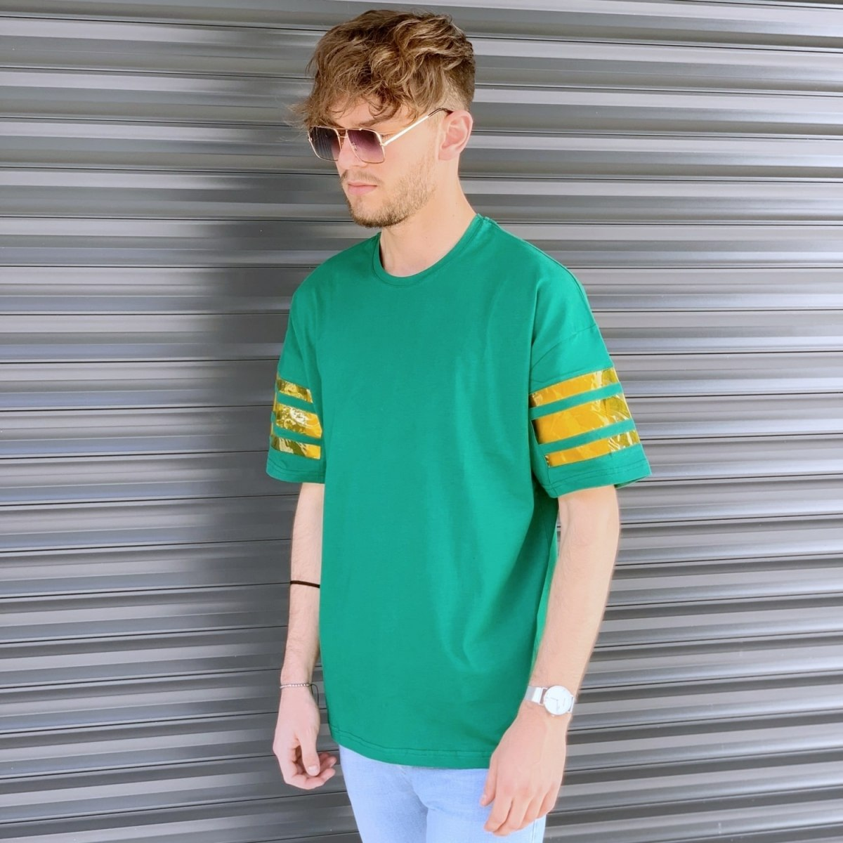 Men's Comfort Arm Striped T-Shirt In Green Mv Premium Brand - 2