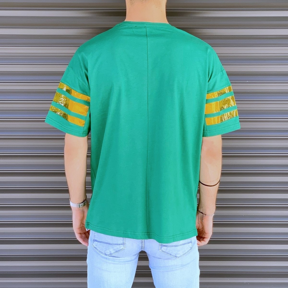 Men's Comfort Arm Striped T-Shirt In Green Mv Premium Brand - 3