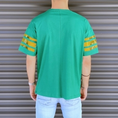Men's Comfort Arm Striped T-Shirt In Green Mv Premium Brand - 3