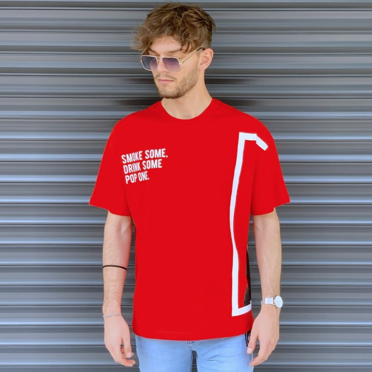 Men's Comfort Round Neck T-Shirt In Red Mv Premium Brand - 1