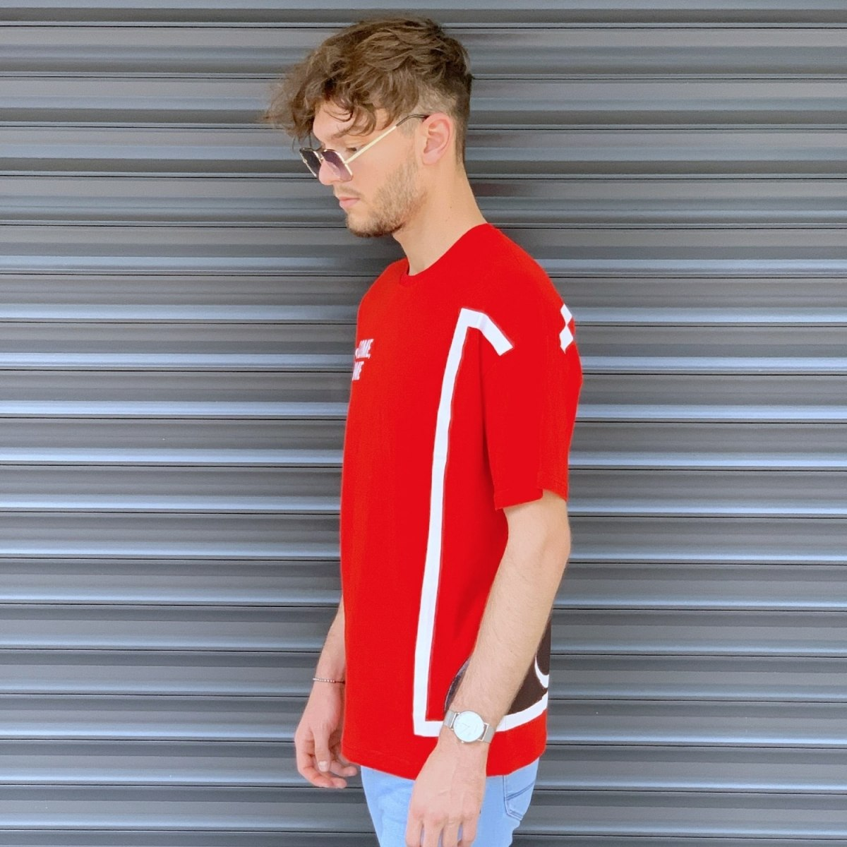 Men's Comfort Round Neck T-Shirt In Red Mv Premium Brand - 3
