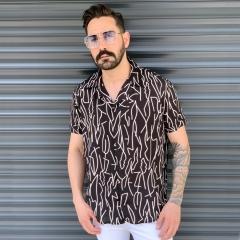 Men's Short Sleeved Summer Shirt In Brown Mv Premium Brand - 1