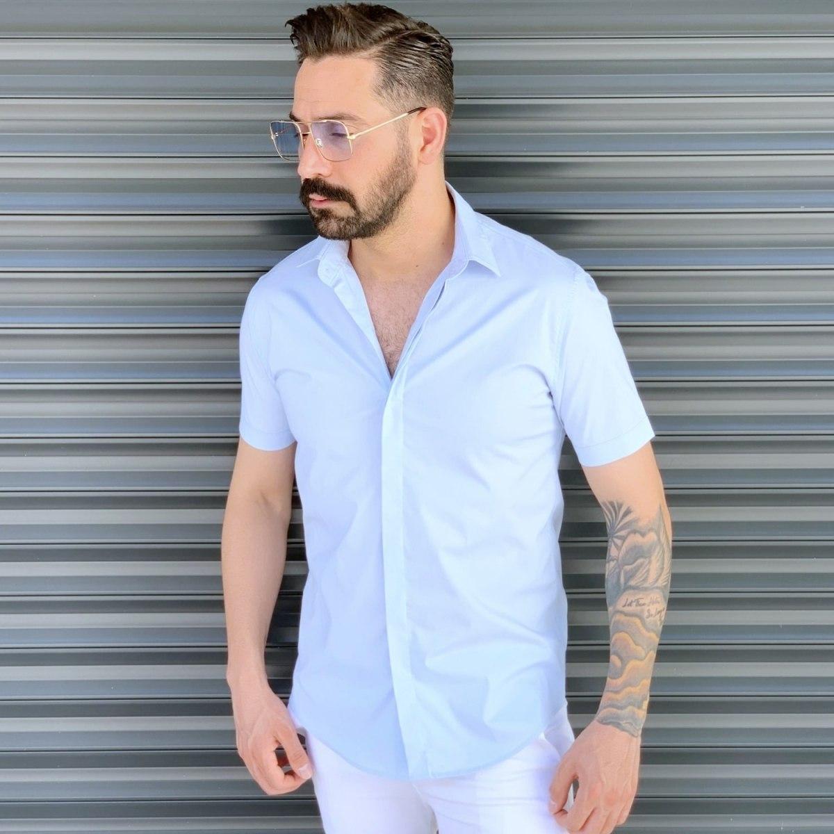 Men's Basic Slim Fit Summer Shirt In White Mv Premium Brand - 1