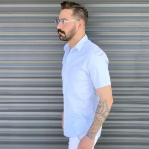 Men's Basic Slim Fit Summer Shirt In White Mv Premium Brand - 2
