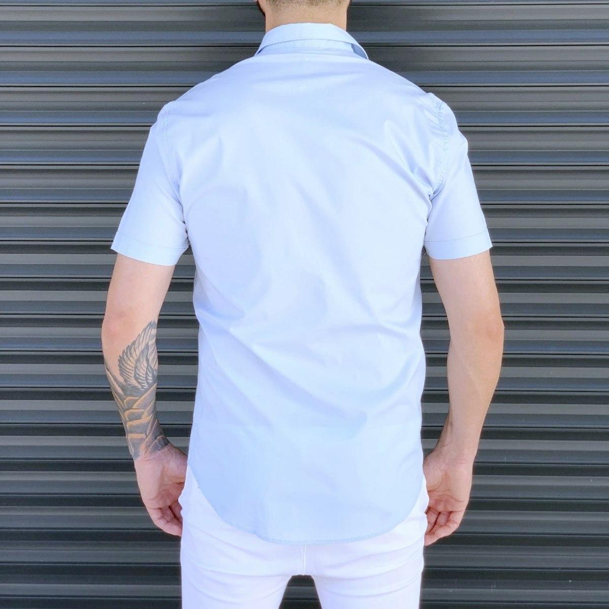 Men's Basic Slim Fit Summer Shirt In White Mv Premium Brand - 3