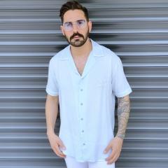 Men's Short Sleeve Street Shirt White Mv Premium Brand - 1