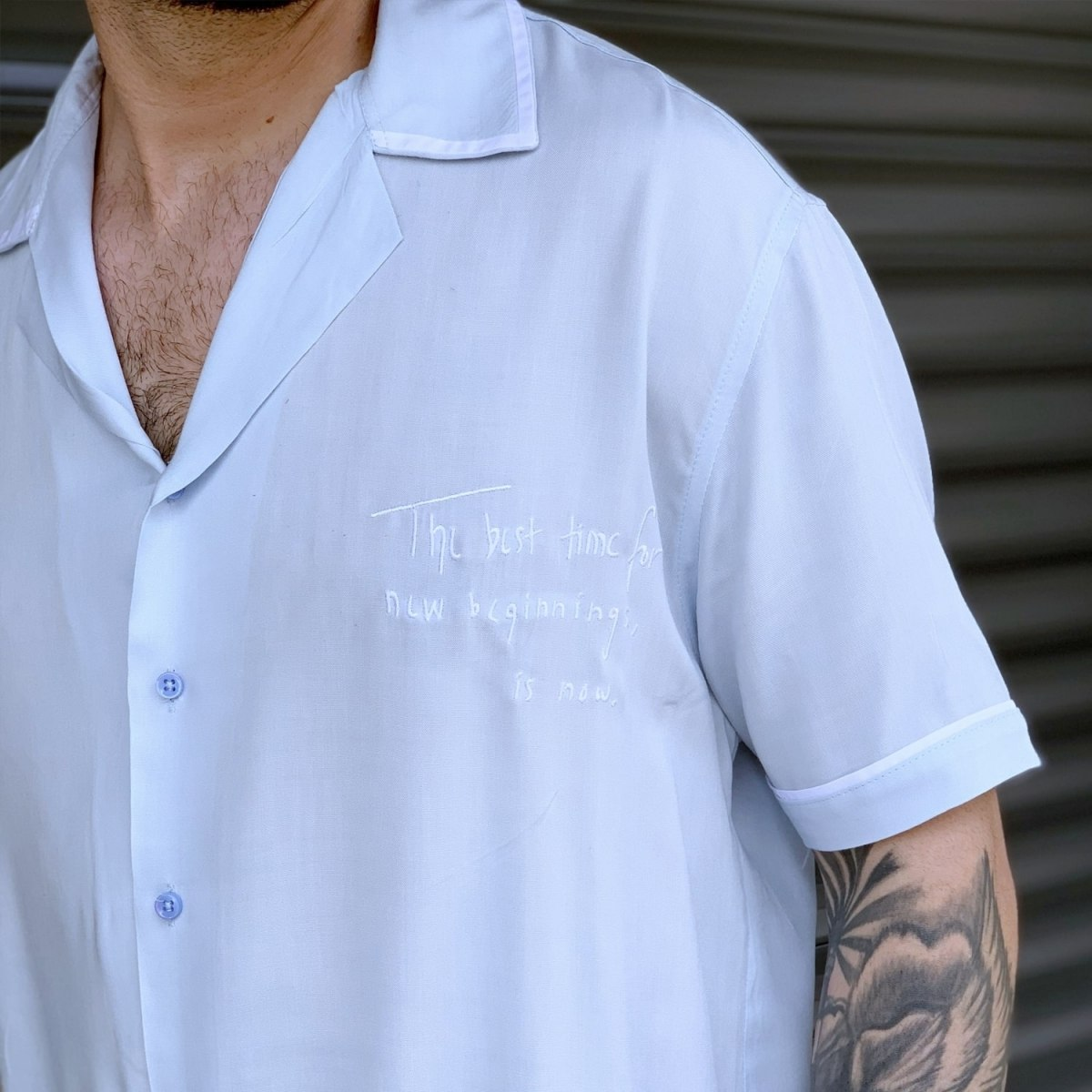 Men's Short Sleeve Street Shirt White Mv Premium Brand - 2