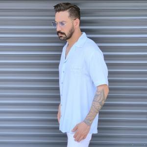 Men's Short Sleeve Street Shirt White Mv Premium Brand - 3