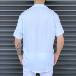 Men's Short Sleeve Street Shirt White Mv Premium Brand - 4