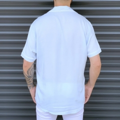 Men's Short Sleeve Street Shirt White Mv Premium Brand - 4