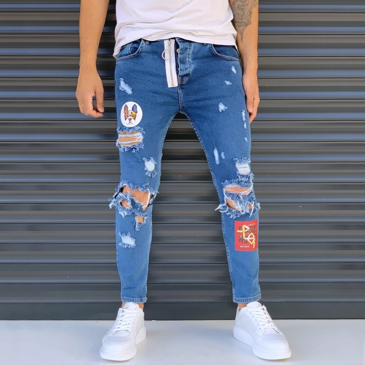 Men's Street Jeans With Heavy Rips And Patchwork Blue Mv Premium Brand - 1