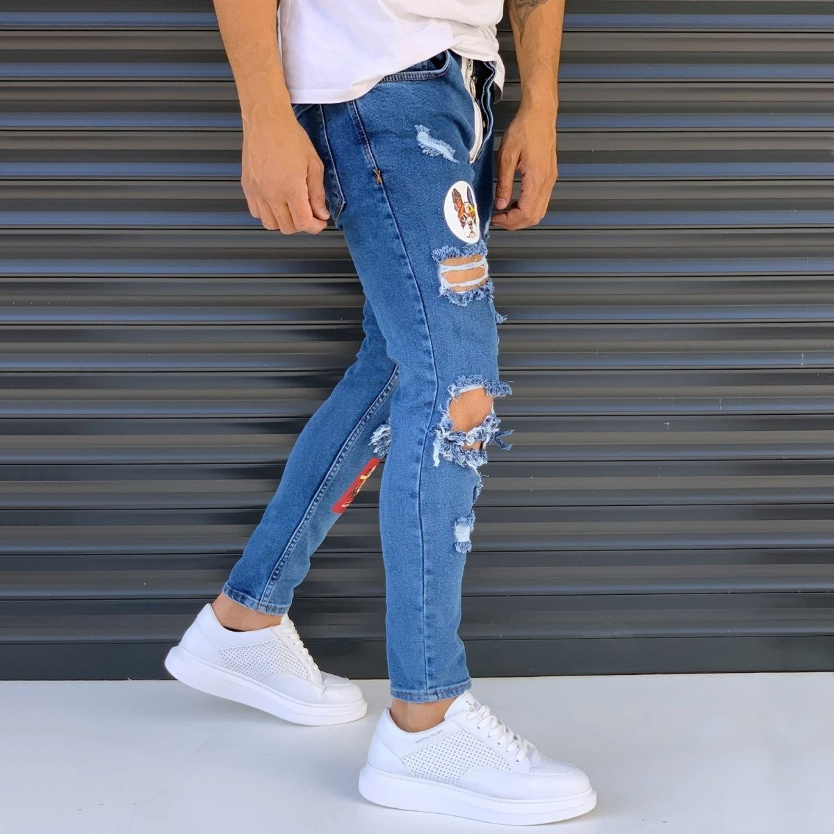 Men's Street Jeans With Heavy Rips And Patchwork Blue Mv Premium Brand - 2