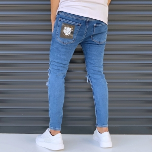 Men's Street Jeans With Heavy Rips And Patchwork Blue Mv Premium Brand - 3