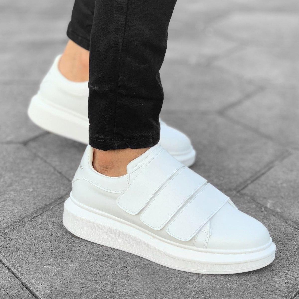 Triple Velcro Sneakers in Full White
