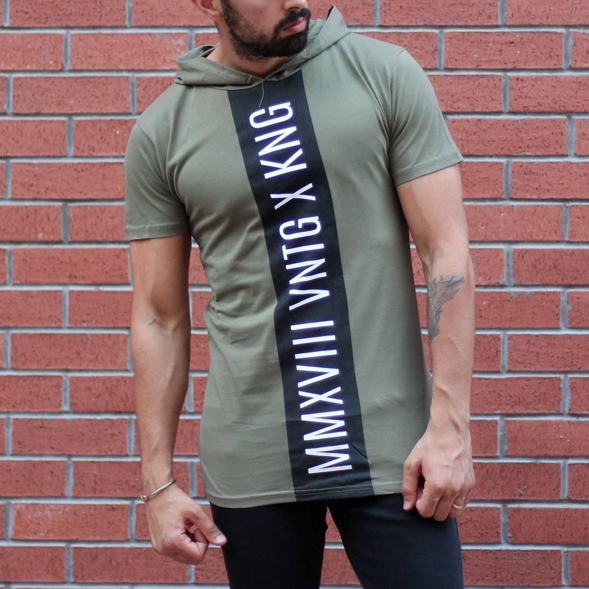 Men's King Printed Tall Hooded T-Shirt Khaki MV T-shirt Collection - 1