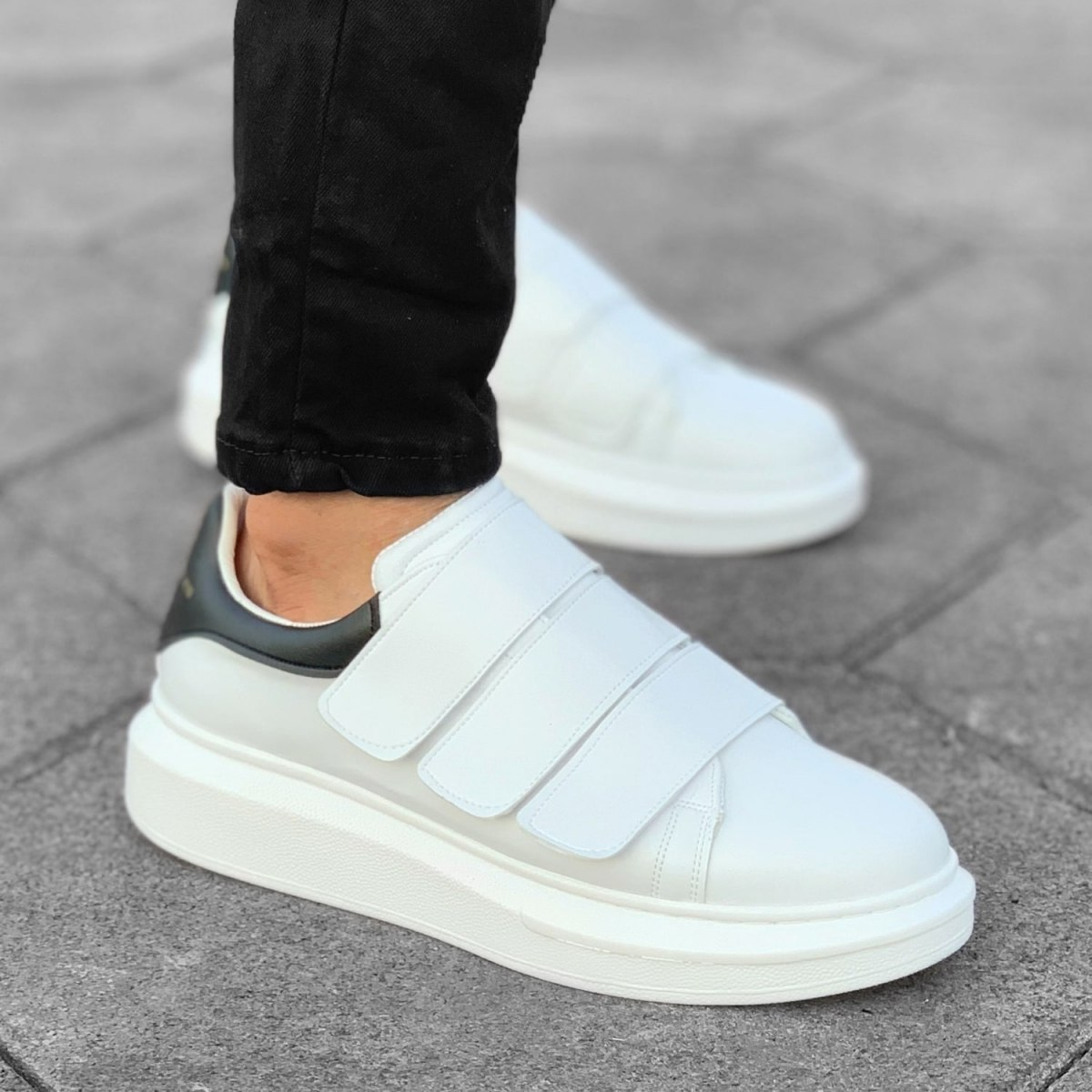 Triple Velcro Sneakers in White-Partial Black