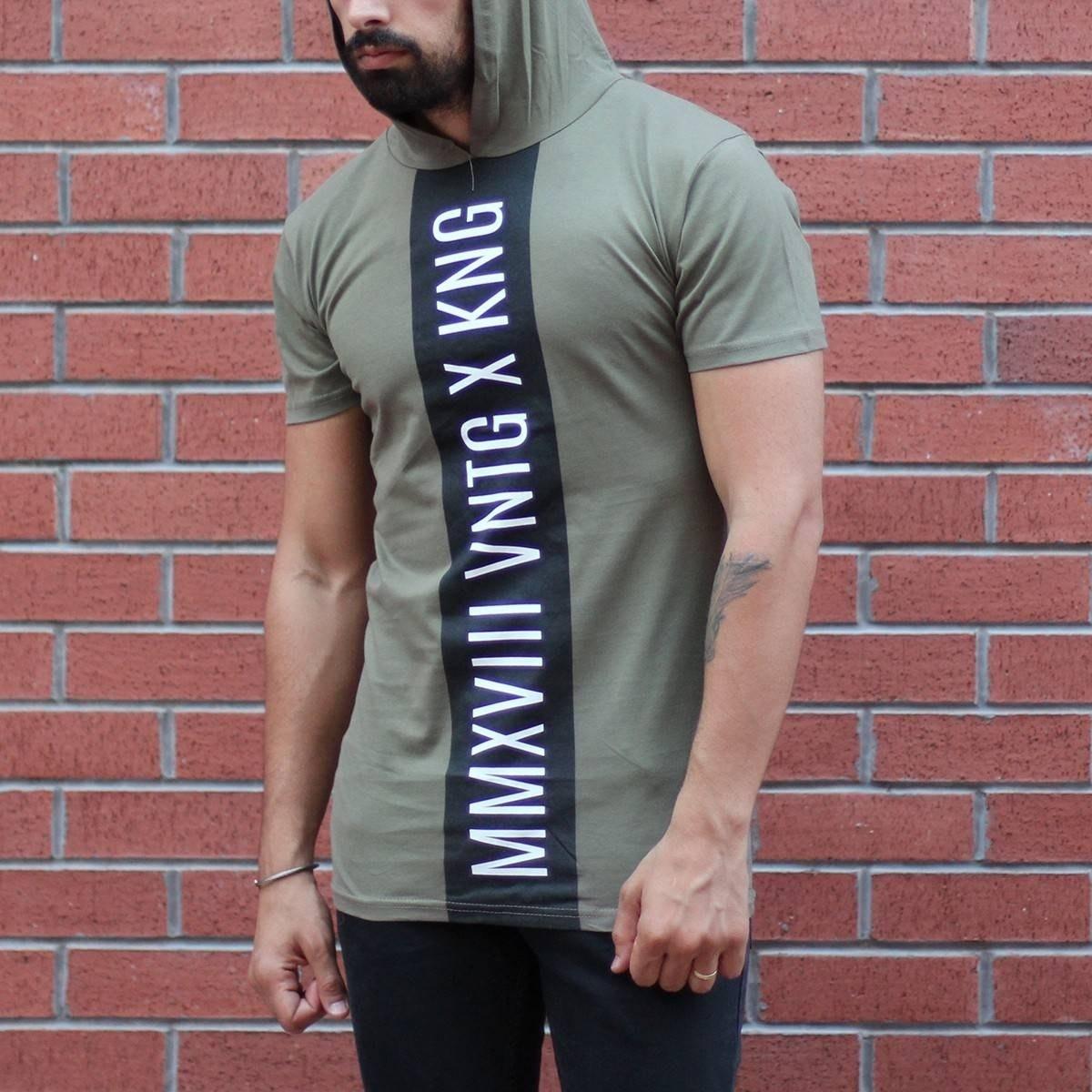 Men's King Printed Tall Hooded T-Shirt Khaki MV T-shirt Collection - 2