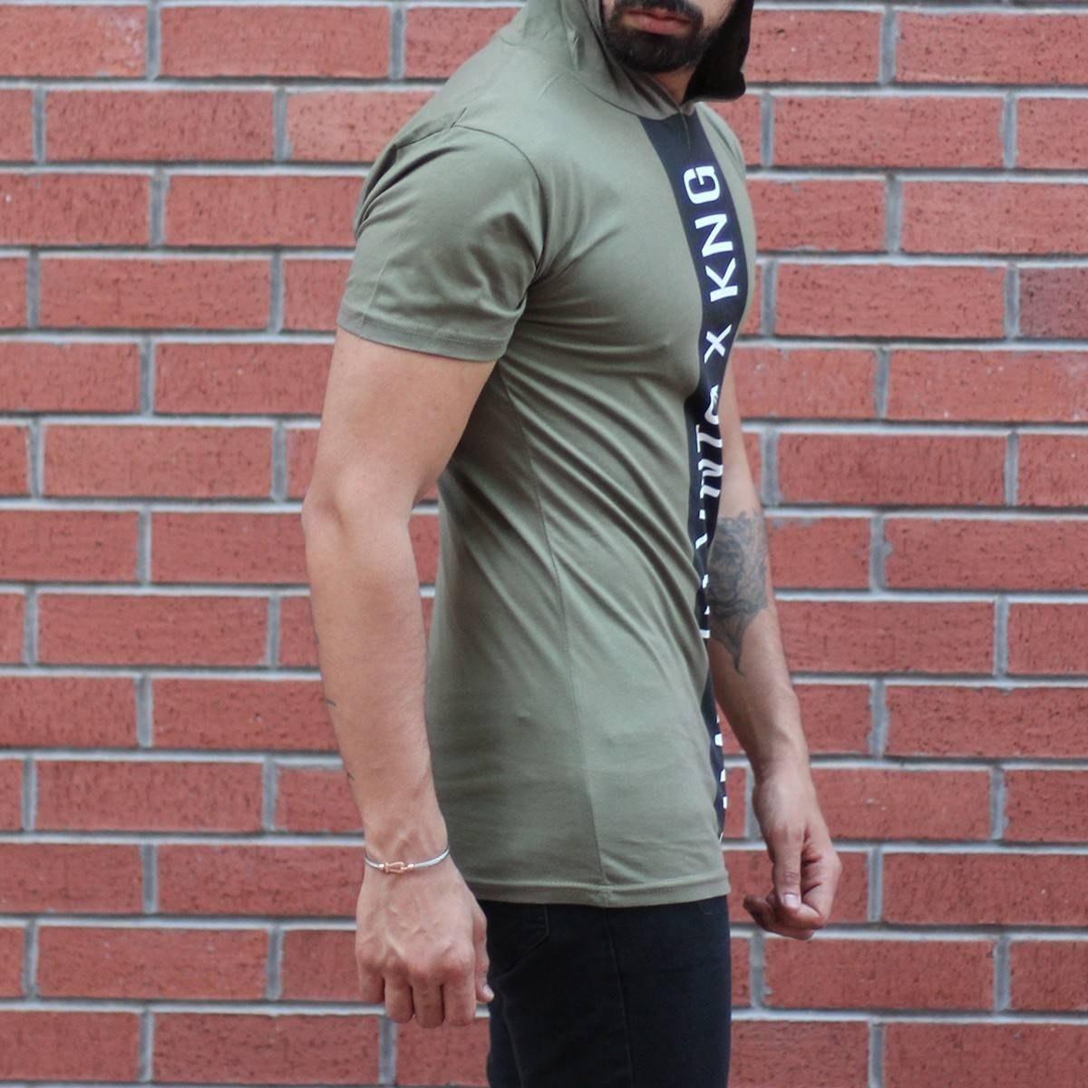 Men's King Printed Tall Hooded T-Shirt Khaki MV T-shirt Collection - 3