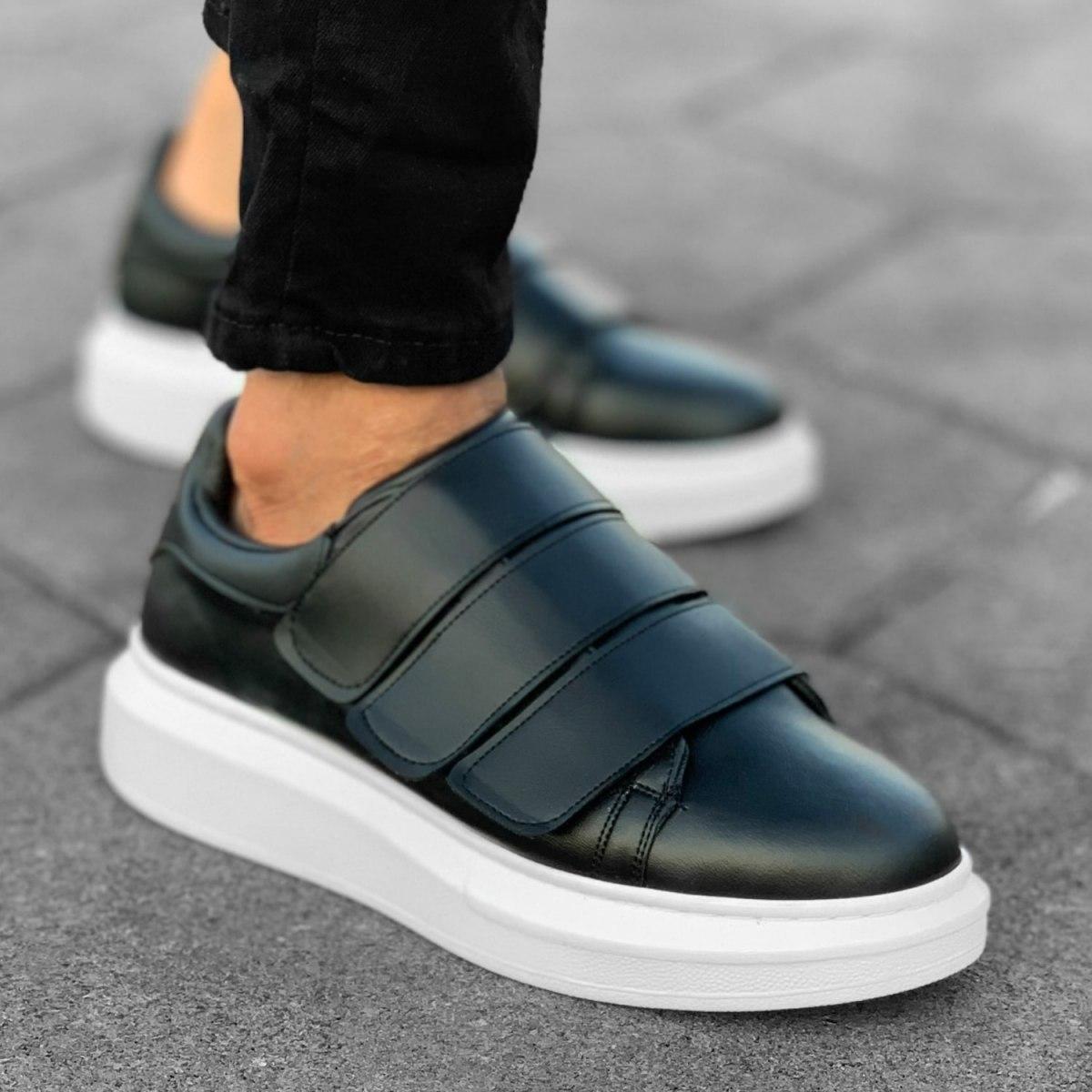 Triple Velcro Sneakers in Black-White