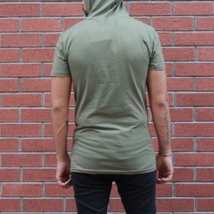 Men's King Printed Tall Hooded T-Shirt Khaki MV T-shirt Collection - 4