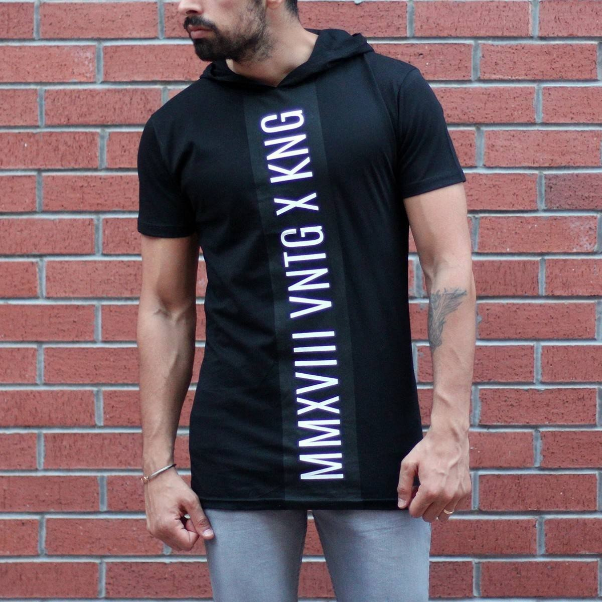 Men's King Printed Tall Hooded T-Shirt Black MV T-shirt Collection - 1