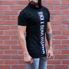 Men's King Printed Tall Hooded T-Shirt Black MV T-shirt Collection - 2