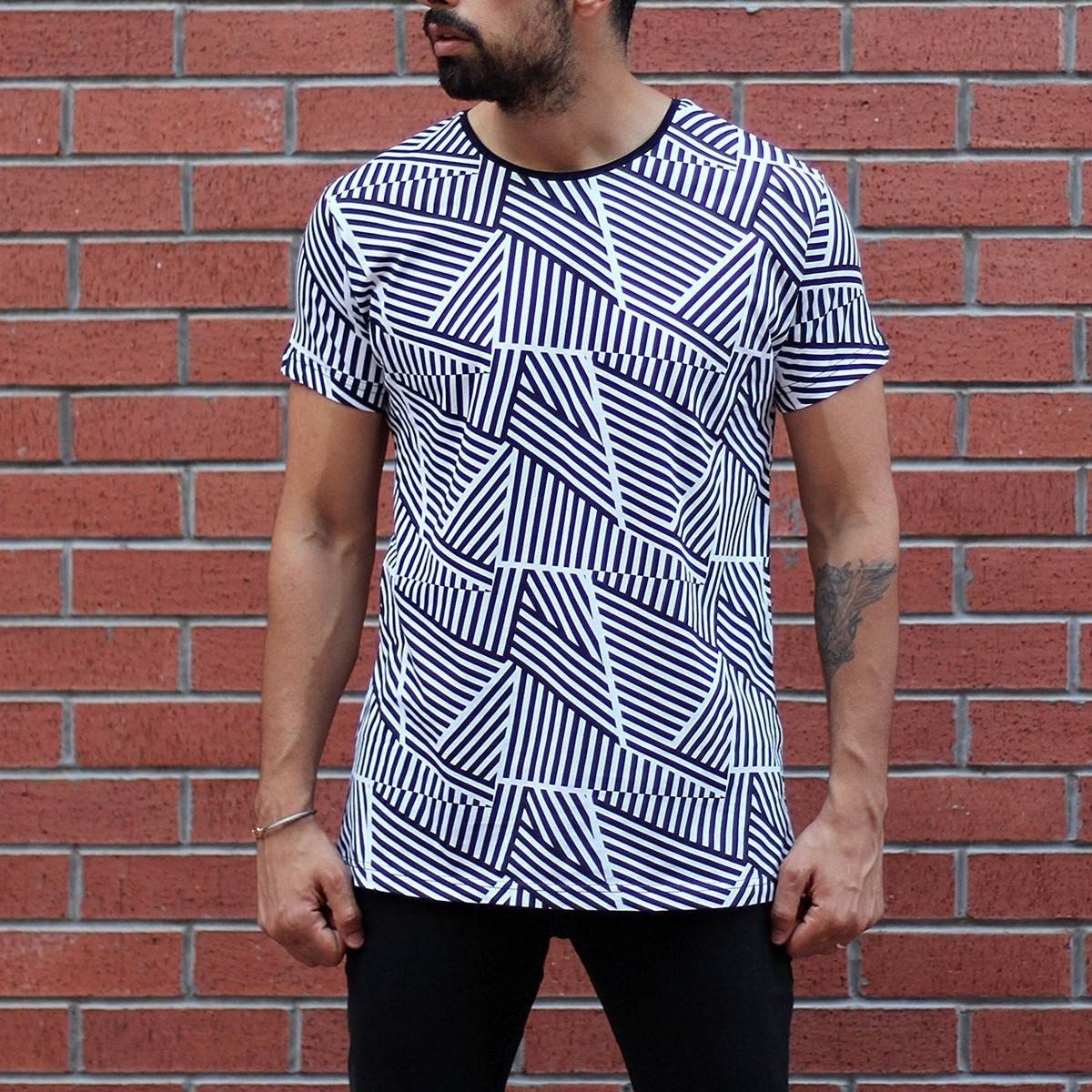 Men's Crew Neck Striped T-Shirt Black&White MV T-shirt Collection - 2