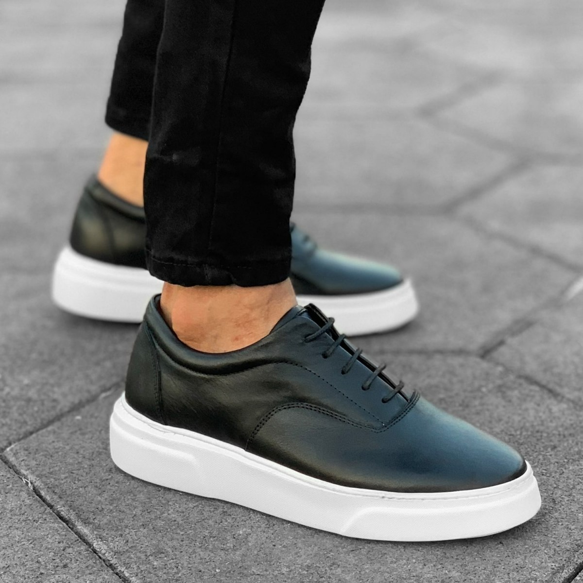 Premium Leather Casual Sneakers in Black White Mv Premium Brand - 2