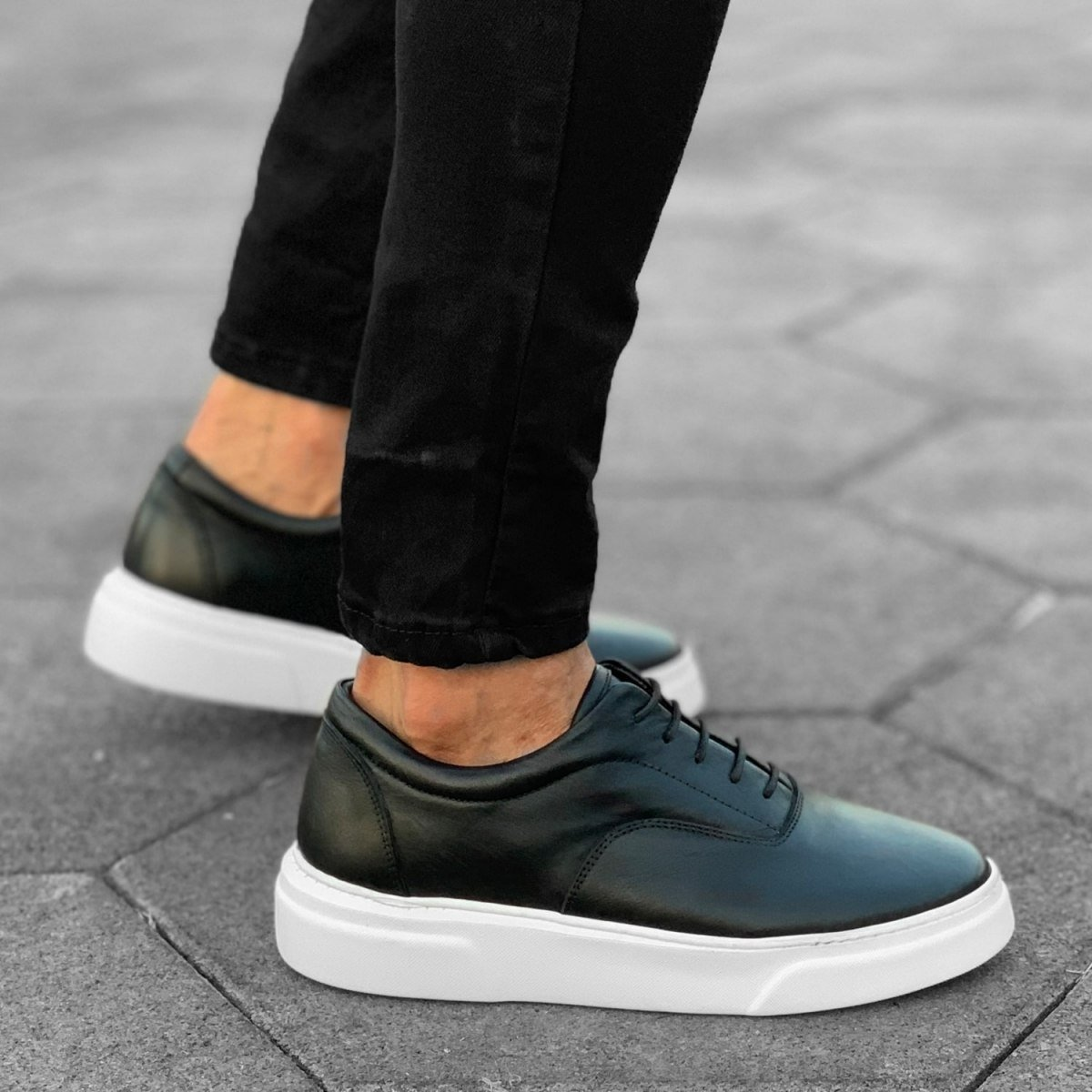 Premium Leather Casual Sneakers in Black White Mv Premium Brand - 3