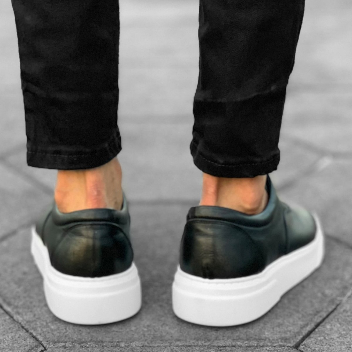 Premium Leather Casual Sneakers in Black White Mv Premium Brand - 4