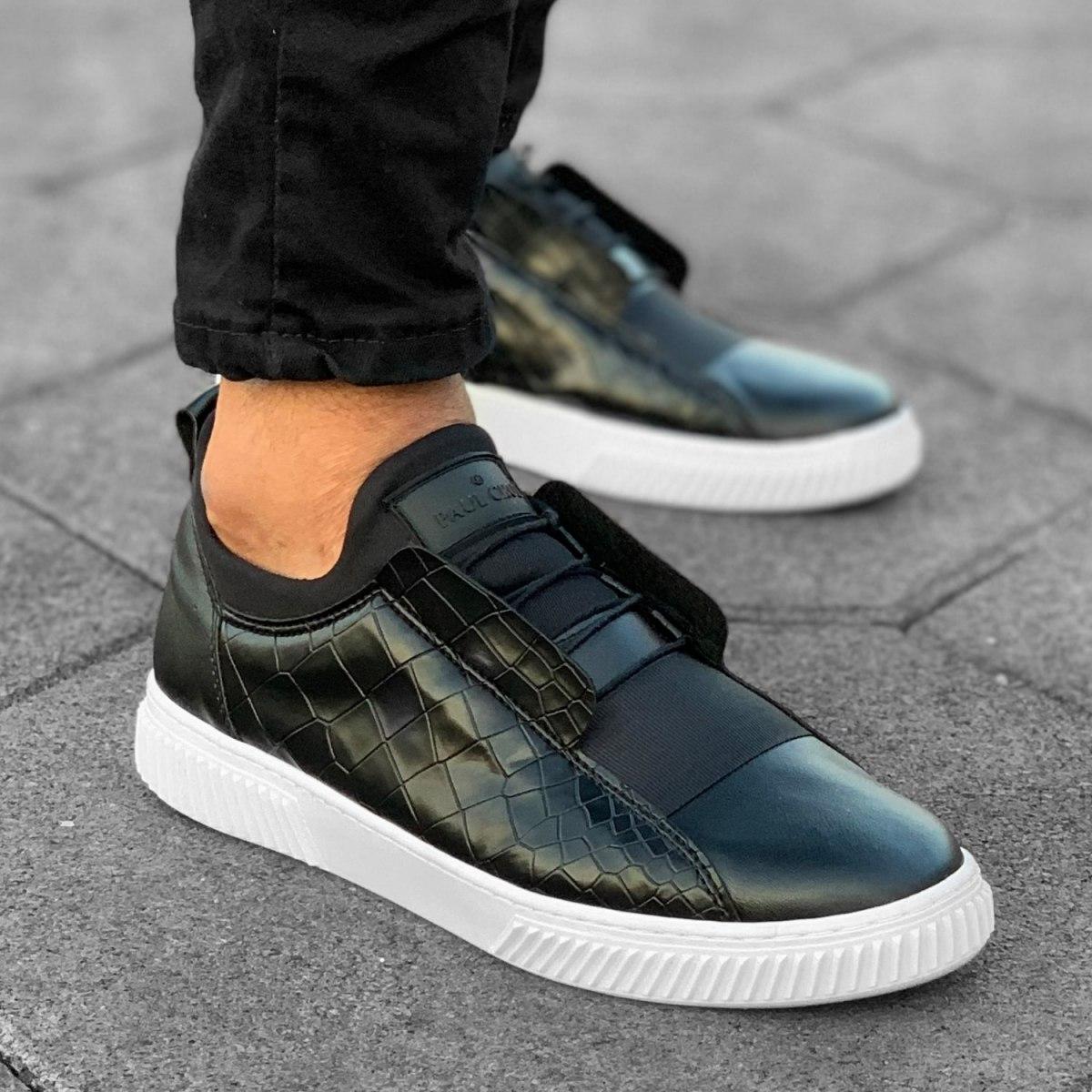 Herren Sneakers Mit Krokodil Leder Optik in Schwarz-Weiß Mv Premium Brand - 4