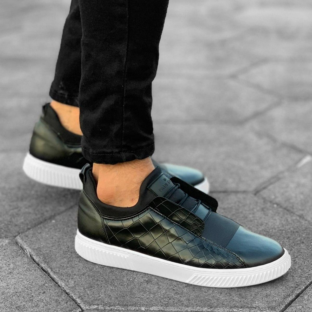 Croco Design Sneakers In Black Mv Premium Brand - 5