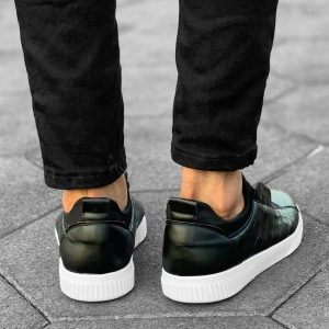 Croco Design Sneakers In Black Mv Premium Brand - 6